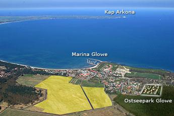 Luftaufnahme von Glowe und Umgebung mit Blick in Richtung Kap Arkona